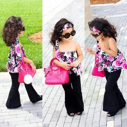 80ac191a6548bc Toddler Baby Girl Clothing sets Lace Flower Off Shoulder Top Bell-Bottom  Pant Kids Outfit Clothes Set discount girls bell pants