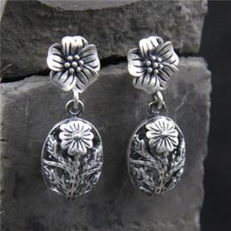 Folk rose on-line-Sterling Silver Rose Lady Brincos retro estilo folk brincos
