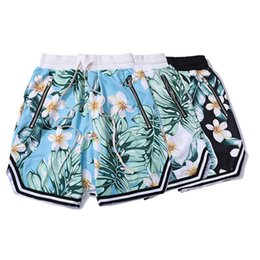 Wholesale beach jerseys - Mesh Material Double Layer Loose Beach Shorts Flower Printed 2018 Summer Jersey Boardshorts Men Short Joggers