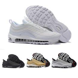 online store 386f2 ec0ae Nike Air Max 97 Airmax 97 OG Tripel Blanc Métallique Or Argent Bullet 97  Meilleur qualité BLANC 3 M Premium Chaussures de Course avec Boîte Hommes  Femmes ...