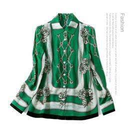 Wholesale Women Long Sleeve Silk Blouse - 2018 Spring Green Floral Print Fashion Print Long Sleeves Real Silk Soie Lady Top Blouse Women Brand Design D12