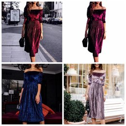 Wholesale velvet dress ladies - Women Off Shoulder Velvet Dress Ladies Evening Party Loose Dress Tunic Sundress Vintage Shirt Party Dress OOA3936