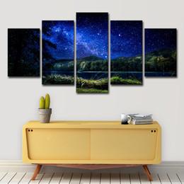 pinturas de montaña Rebajas Fotos de lienzo Arte de la pared Impresiones en HD Carteles 5 Unidades Cielo estrellado azul Montañas Nightscape Pinturas Decoración para el hogar