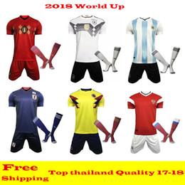 Wholesale Cups Sets - 10 Set Free DHL 2018 World Cup Kit soccer jerseys sets +socks Belgium Spain Mexico Uruguay Colombia Argentina Brazil Coutinho Soccer kits