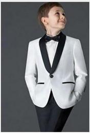 Tuta da tuta bianca per bambini online-2019 Ragazzi Tute per Matrimoni Bambini Tuxedo New Black / White Capretto Prom Wedding Blazer per ragazzi (Jacket + Pants)