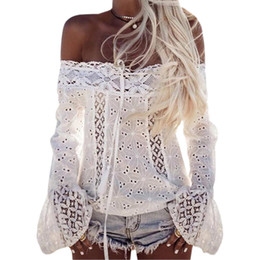 2019 Lace Blusas Women Long Flare Sleeve Slash Neck Shirts Summer Sexy Cut  Out Blouse Casual Off Shoulder Tops White Blusa GV623 27d4e65e4