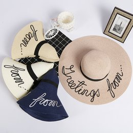 Wholesale Wide Brim Hats For Sale - Fashion wide Brim summer beach sun hats for women Letter Embroidery straw Hats caps ladies girl sunscreen big foldable hats holiday hot sale