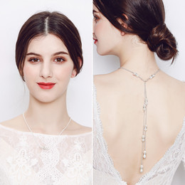 Wholesale Trendy Casual Prom Dress - New Design Peral Necklace wth Back Decoration High Quality Low Price Bridal Bodice Jewelry Wedding Prom Party Backless Dress Accessories