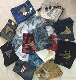 Wholesale trousers wing - New Mens Jeans Robin Pants Denim Studs Crystal Pockets Wings Clips Straight Biker Desiger Trousers Hot Size 30-42