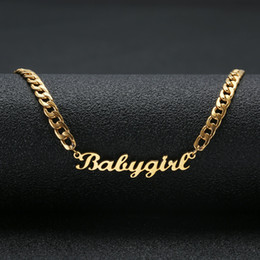 """collar de hilo de cadena Rebajas Precioso regalo Color dorado """"Babygirl"""" Collar con nombre Placa de acero inoxidable Choker Handwriting Signature Necklace For Girls"""