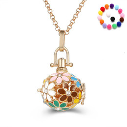 Wholesale Gold Ball Chain Necklace Woman - Difuser Necklaces for Women Fashion Pendant Necklaces Aromatherapy Diffuser Necklace Locket Necklaces with 3 Colour Cotton Ball