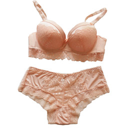 Wholesale Big Cup Bra Sets - Slimgirl Women's Sexy Lace Bra Set Push Up Underwire One-piece 3 4 Cup Two Hook and Eye Bra & Brief Sets Big Size