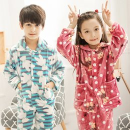 Wholesale Girls Pink Pajamas - New year winter children pajamas for boy girls warm christmas kid thermal flannel pyjamas coral velvet tracksuit pijama clothing