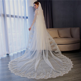 Wholesale 5m Wedding Veil - Chapel wedding veil ivory white 3M cathedral length designer long veils lace edge custom made 5m 7m berta veil