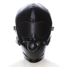 campana de pelota bdsm Rebajas Máscara de SM Bondage Restraint Hood Mask Juguetes sexuales Sombrero con boca Ball Gag BDSM Erotic PU Leather Sex Hood para juegos de adultos