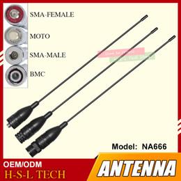 antena mhz Rebajas NA-666 VHF / UHF 144/430 MHz Banda de alta ganancia Conector de antena para radio bidireccional BNC / SMA Walkie Talkie para Baofeng