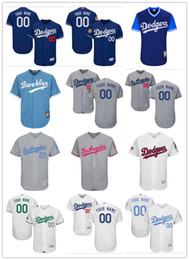 Wholesale kids girls - custom Men's women youth Majestic LA Dodgers Jersey #00 Any Your name and your number Home Blue Grey White Kids Girls Baseball Jerseys