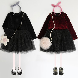 Wholesale Lace Splice Dress - 2018 Kids princess dresses Girls long sleeve dots splicing dress children tulle tutu dress Autumn new sweet girls clothing