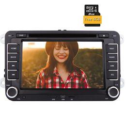 Vw schlag bluetooth online-Auto-Video Doppel-din 2 din automagnitol Autoradio Stereo für VW Auto Audio in Dash DVD-Player Autoradio 8GB GPS Karte