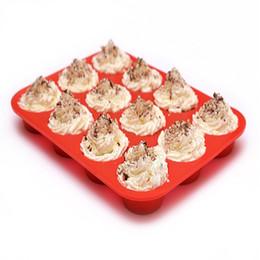 2019 stampo di pupazzo di silicone Muffa della torta del silicone che cuoce muffa della torta muffa della torta di NonStick 12 muffa della tazza che teglia da forno strumenti di alta qualità della cucina di colore rosso della pentola