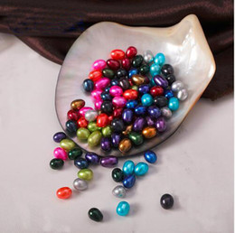 Wholesale Red Craft Beads - Rice Shape Multi-Colors Natural Pearls Beads 6-7MM Oval Pearl Beads Crafts Decoration For DIY Jewelry Making 50pcs lot FP064