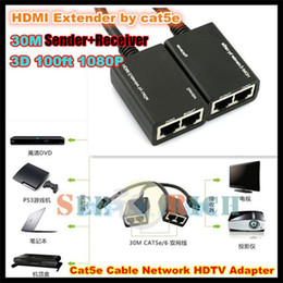 Wholesale Multimedia Networks - 1pcs!30M HDMI EXTENDER Cat5e Cat6 Lan cable 3D 100ft 1080P Cable Network HDTV Adapter (Sender+Receiver) Support 1080P 3D