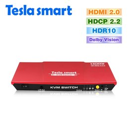 2019 moniteur de sortie vidéo DHL Free Red Tesla smart HDMI 2.0 USB KVM Switch 2 ports USB KVM HDMI Switch 4K @ 60Hz Port USB 2.0 supplémentaire