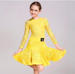 Vestito latino da ballo giallo online-Spedizione gratuita 6 colori verde giallo rosa bianco bambini bambini vestito da ballo latino ragazze pizzo salsa tango cha cha sala da ballo concorso danza dress
