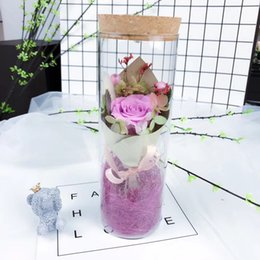 Wholesale Green Preserves - hot sale eternal freeze dried preserved roses in glass bottle with led light as christmas birthday gift