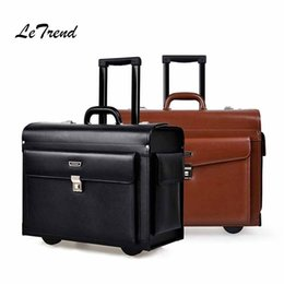 272f071c45a1 Letrend Cowhide Rolling Luggage business Cabin Travel Bag Genuine Leather  Pilots captains dedicated flight Suitcases Wheel