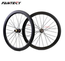 ruedas de ciclocross Rebajas FANTECY 700C 50mm profundidad bicicleta de carretera freno de disco ruedas de carbono 25 mm de ancho Clincher / tubular ciclocross ruedas de carbono con ejes de tracción recta