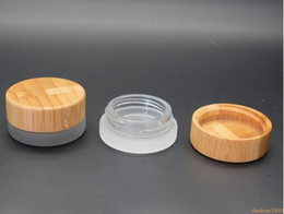 Wholesale Cream Wax - 5ml frosted clear glass jar with bamboo lid wax cosmetic cream jar container 5g storage container 2018 most popular items