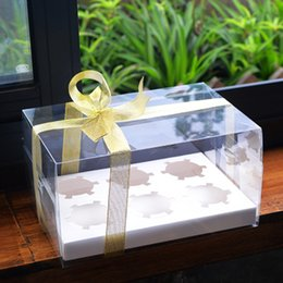 Wholesale Christmas Cupcake Gift Boxes - WHISM Clear Cupcake Box With Base Inside PET Transparent Candy Boxes Biscuits Cookies Christmas Wedding Party Packaging Gift Box