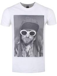männer s sonnenbrille weiß Rabatt Kurt Cobain Sunglasses Herren weißes T-Shirt