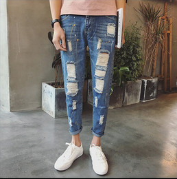 Wholesale Jeans Jumpsuits For Plus Size - Spring Ripped Jeans For Men High Quality Male Denim Jumpsuit Oversized Denim Overalls Men Fashion Male Jeans 27-36