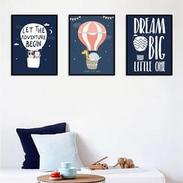 Palloni stampati animali online-Cartone animato mongolfiera inglese Wall Art Canvas Painting Nordic Poster And Prints animal Wall Pictures Decorazioni per camerette per bambini