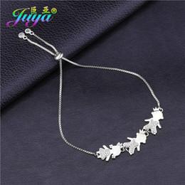 fascino della mamma dell'oro Sconti Juya Handmade compleanno regalo bracciali oro / argento / oro rosa Boy + Girl + MaMa braccialetti di fascino per la cara mamma regalo gioielli di natale