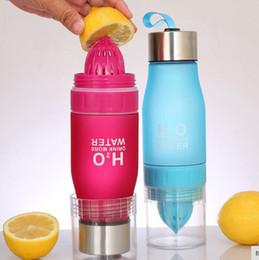 2019 agitador de proteínas botella deportes directo Regalo 650ML H2O Jugo de limón Fruta Botella de agua Infuser Drinkware para exterior Shaker portátil Botella deportiva BPA Gratis