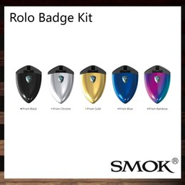 Wholesale Silver Badges - SMOK Rolo Badge Starter Kit Built-in 250mAh Battery 2ML Pod Badge Design Smooth Appearance With No Fire Button 100% Original