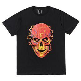 Vlone Flame Skull T-shirt hommes femmes t-shirt harajuku tshirt punk hip-hop streetwear marque été coton vêtements impression t-shirts tops en plein air ? partir de fabricateur