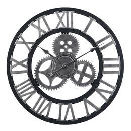 Relógios de parede silenciosos on-line-60 cm Grande Relógio de Parede Circular Retro Engrenagem Roma Estilo Quarz Silencioso Pendurado Relógio Agulha Para Casa Sala de estar Decoração 2 Cores