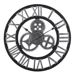 Шестерня онлайн-60cm Large Circular Wall Clock Retro Gear Rome Style Quarz Silent Hanging Needle Clock For Home Living Room Decor 2 Colors