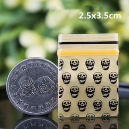 zip lock plastic bags small Promo Codes - 0.2mm 1000pcs Skull Printing Orange Color Small Size Self Sealing Zip Lock Bags  Jewelry Package  Plastic Zipper Packaging Bags