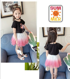 Wholesale leopard tulle - Baby girls Flamingos outfits children top and lace Tulle skirts 2pcs set Summer suits kids Clothing Sets Flamingos two pieces suit KKA5501