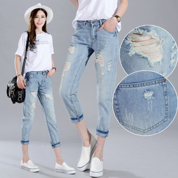 Wholesale torn women jeans - 2018 fashion ripped women jeans woman basic women long jeans with holes boyfriend femme denim pants famale fashion torn jeans