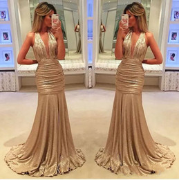 Wholesale Green Halter - 2017 sexy elegant long evening gowns satin fabric black girl western country style for woman dress gold prom formal dresses mermaid