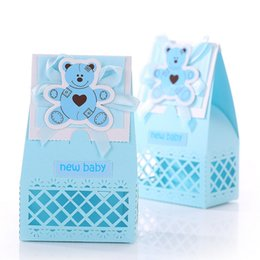 Wholesale Christening Boxes Wholesale - Wholesale- Little Bear Baby Shower Baptism Christening Birthday Gift Party Favors Candy Box For Party Favor 12pcs