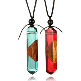 Canada Forêt secrète en bois collier arc en bois bois résine colliers pendentif en cristal emballage irrégulière pierre colliers pour les femmes bijoux Offre