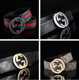 Wholesale Men Casual Belts Best Brands - 2018 Best quality canvas stripe belt new fashion casual luxury brand designer double buckle genuine leather belts for men and women