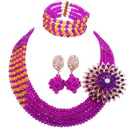 2019 gelbe nigerian perlen schmuck sets Lila Gelb Nigerian Hochzeit Afrikanische Perlen Schmuck-Set Kristall Perlen Halskette Sets Brautschmuck Sets 5RJZ37 günstig gelbe nigerian perlen schmuck sets